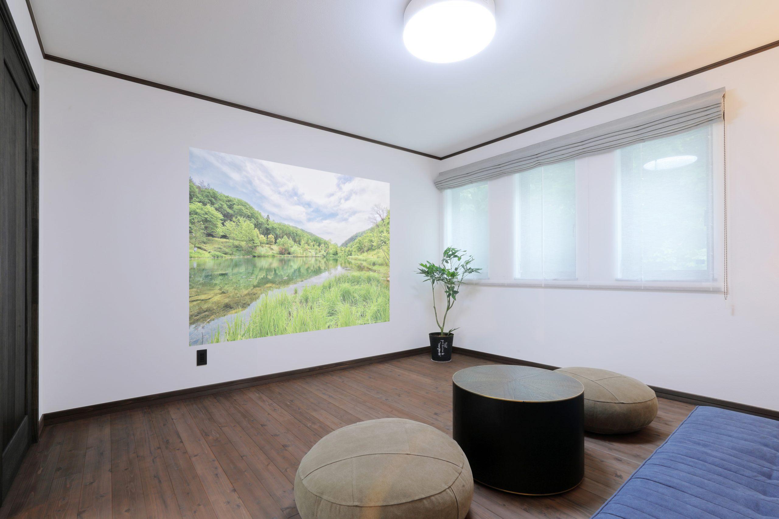 壁に画像が移っている部屋